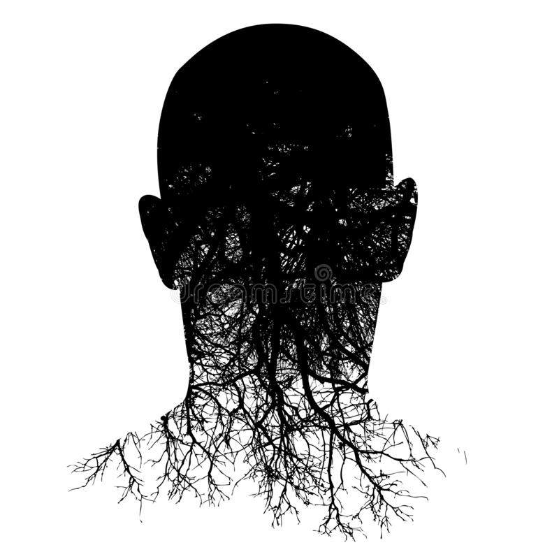 This silouette of a man's head morphs into roots stock illustration