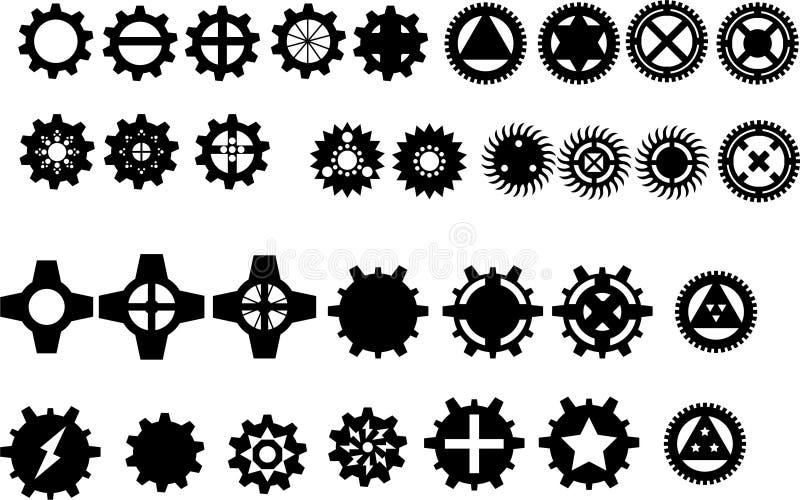 32 silouettes шестерни иллюстрация вектора