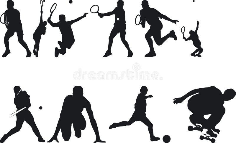 silouettes sportowców royalty ilustracja