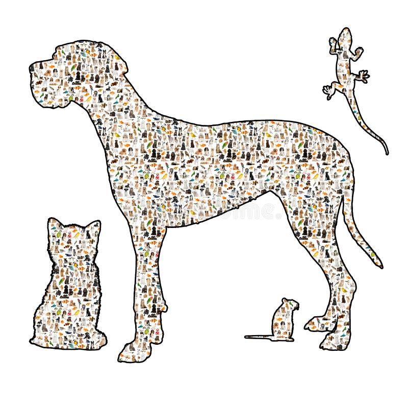 Silouhette di un cane, di un gatto, di un roditore e di un rettile royalty illustrazione gratis