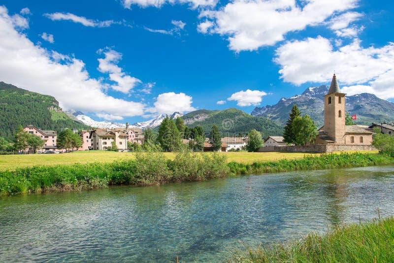 Sils玛丽亚瑞士村庄  免版税库存照片