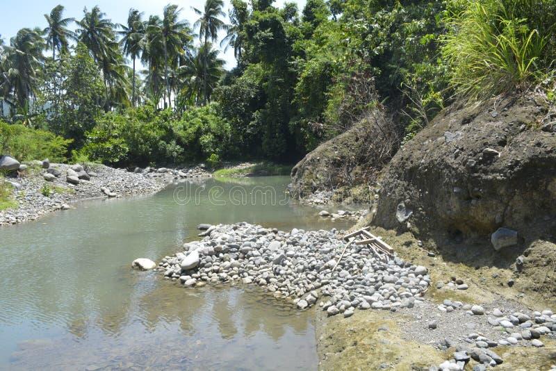 Silted portion of Ruparan riverbank at barangay Ruparan, Digos City, Davao del Sur, Philippines stock images