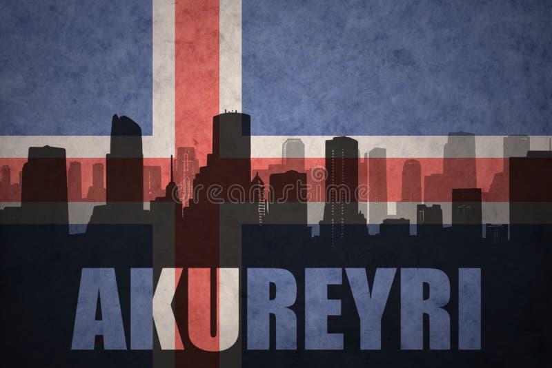 Silueta abstracta de la ciudad con el texto Akureyri en la bandera del islandés del vintage ilustración del vector