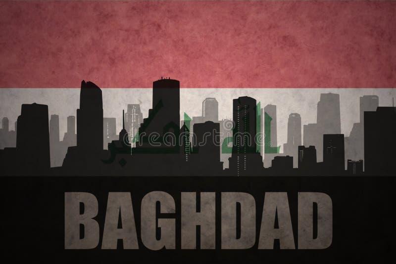 Silueta abstracta de la ciudad con el texto Bagdad en la bandera del iraquí del vintage stock de ilustración