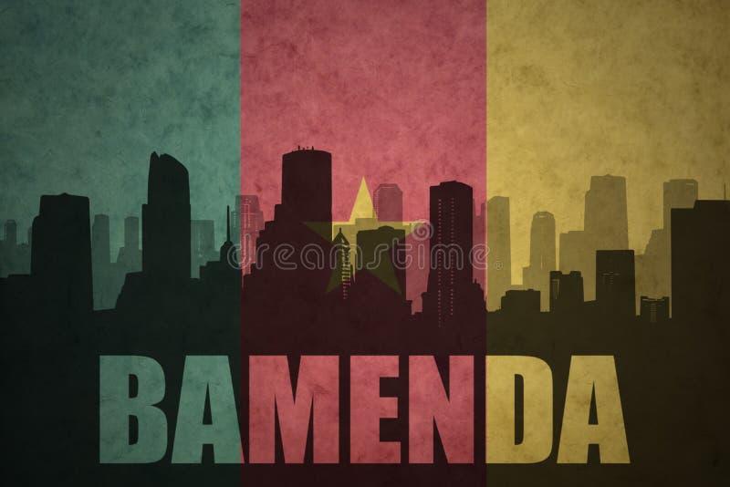 Silueta abstracta de la ciudad con el texto Bamenda en la bandera del Camerún del vintage fotografía de archivo libre de regalías