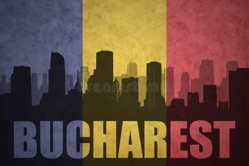 Silueta abstracta de la ciudad con el texto Bucarest en la bandera del rumano del vintage stock de ilustración