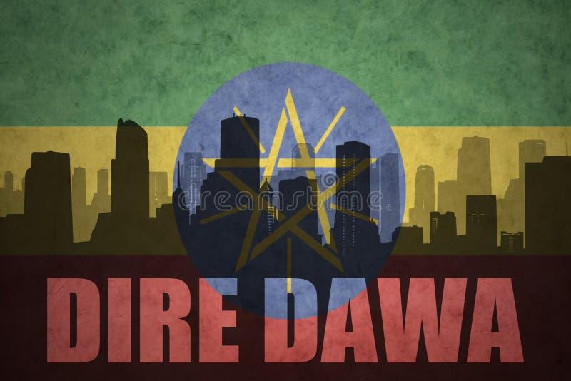 Silueta abstracta de la ciudad con el texto Dire Dawa en la bandera etíope del vintage stock de ilustración