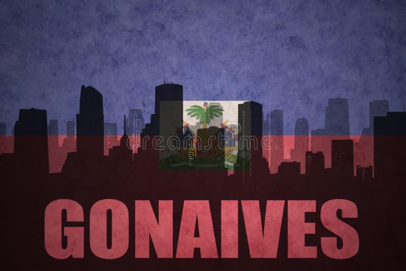 Silueta abstracta de la ciudad con el texto Gonaives en la bandera del haitian del vintage fotos de archivo