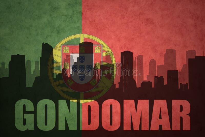 Silueta abstracta de la ciudad con el texto Gondomar en la bandera del portugués del vintage imagen de archivo libre de regalías