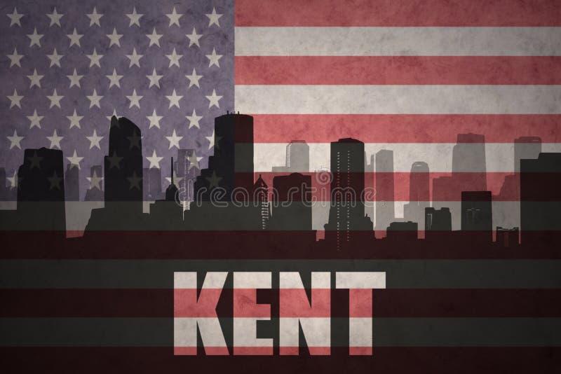 Silueta abstracta de la ciudad con el texto Kent en la bandera americana del vintage fotos de archivo libres de regalías