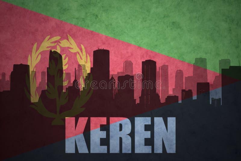 Silueta abstracta de la ciudad con el texto Keren en la bandera del eritrean del vintage libre illustration