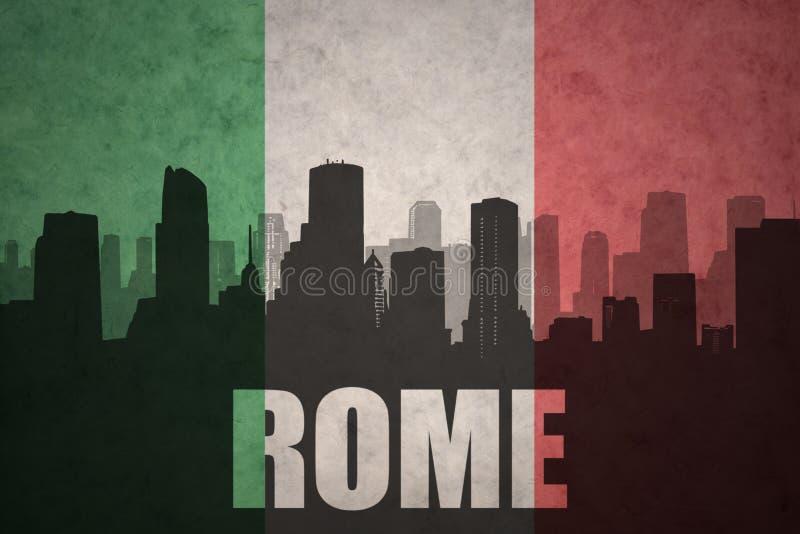 Silueta abstracta de la ciudad con el texto Roma en la bandera del italiano del vintage ilustración del vector