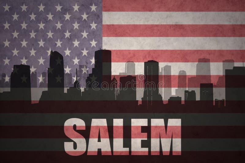 Silueta abstracta de la ciudad con el texto Salem en la bandera americana del vintage fotografía de archivo libre de regalías