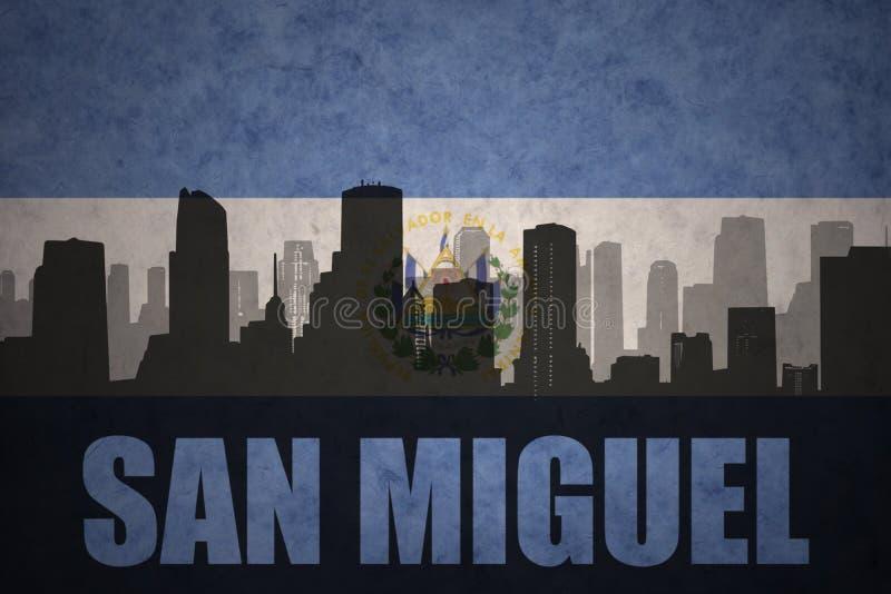 Silueta abstracta de la ciudad con el texto San Miguel en la bandera de salvadoreño del vintage ilustración del vector