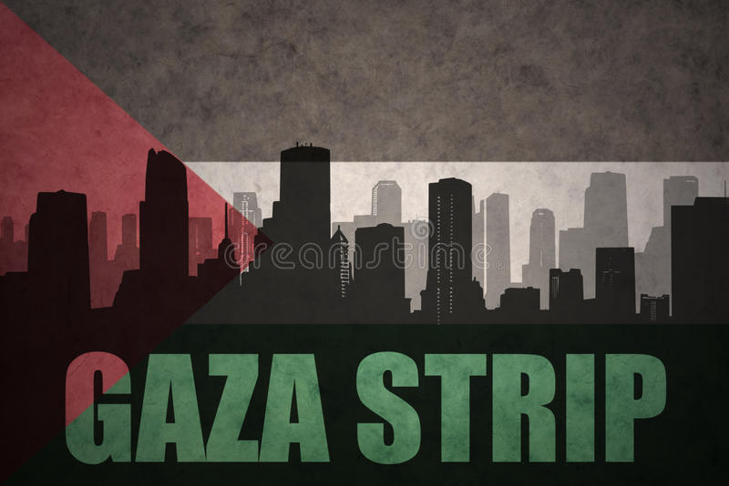 Silueta abstracta de la ciudad con la Franja de Gaza del texto en la bandera del palestino del vintage ilustración del vector