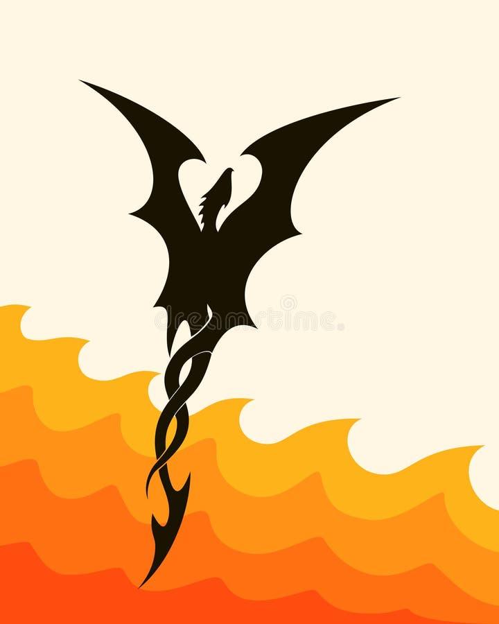 Silueta abstracta de un dragón de vuelo stock de ilustración