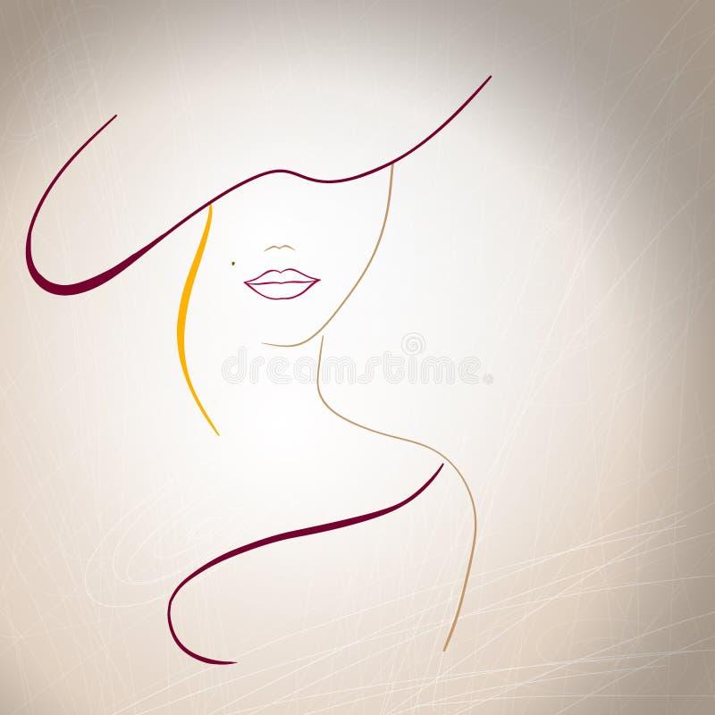 Silueta abstracta de una mujer con un topo en stock de ilustración