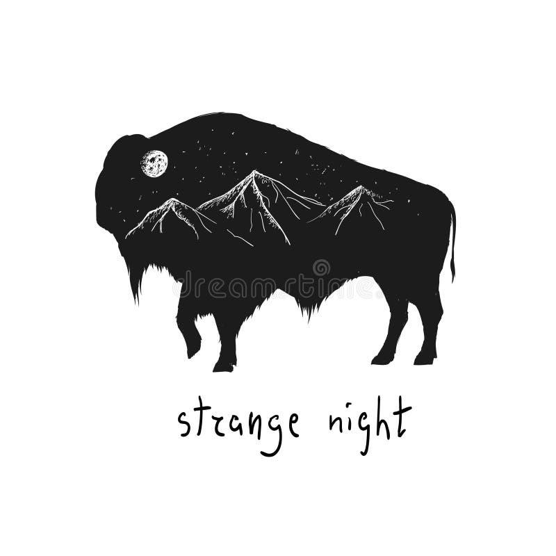 Silueta abstracta del bisonte stock de ilustración