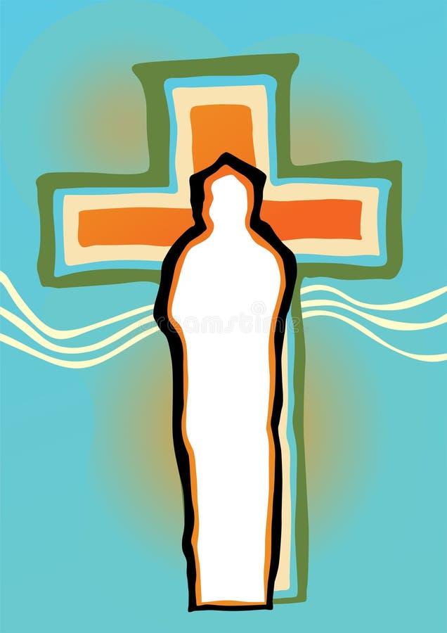 Silueta abstracta del crucifijo y de Cristo libre illustration