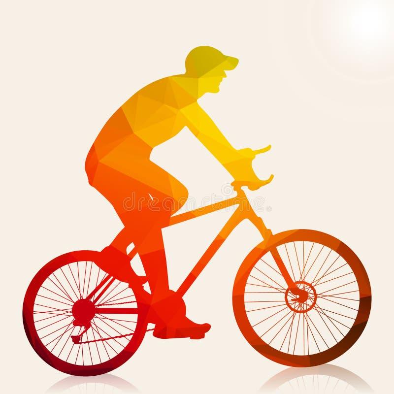 Silueta abstracta del hombre del ciclista foto de archivo