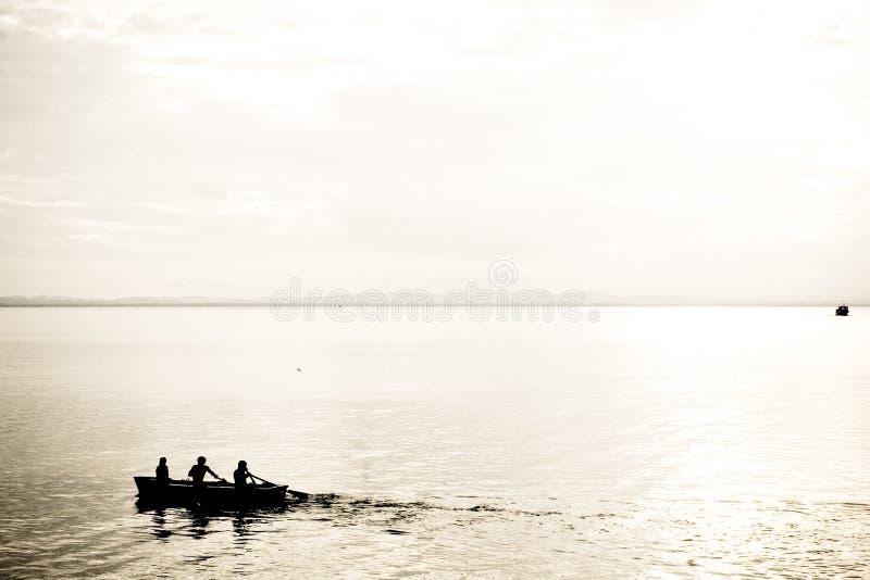 Silueta abstracta del Rowing fotografía de archivo