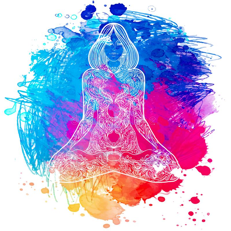 Silueta adornada de la mujer que se sienta en actitud del loto Concep de la meditación ilustración del vector
