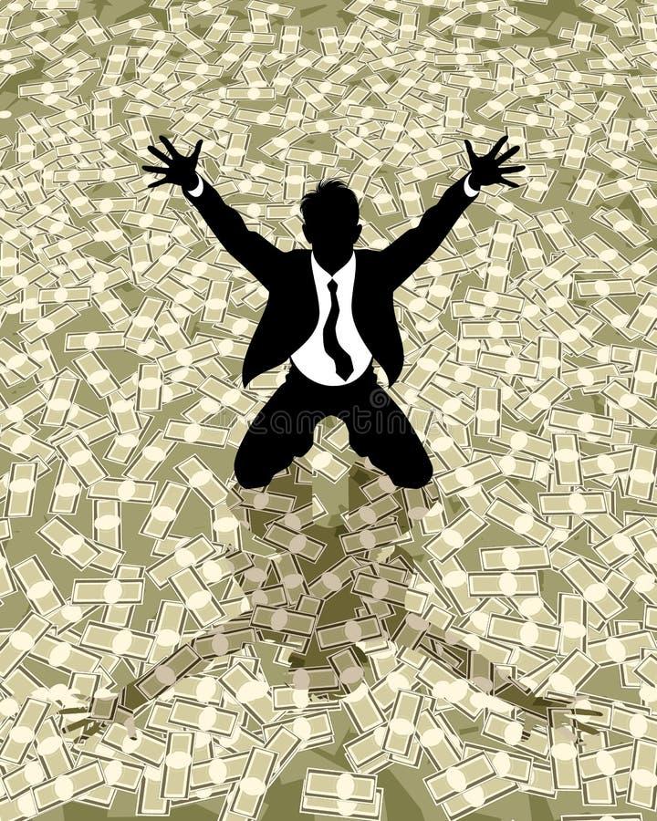 Silueta afortunada del hombre de negocios stock de ilustración