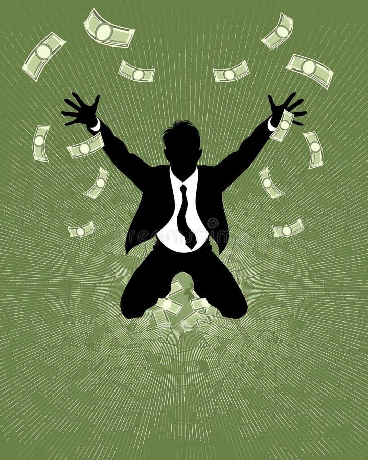 Silueta afortunada del hombre de negocios ilustración del vector