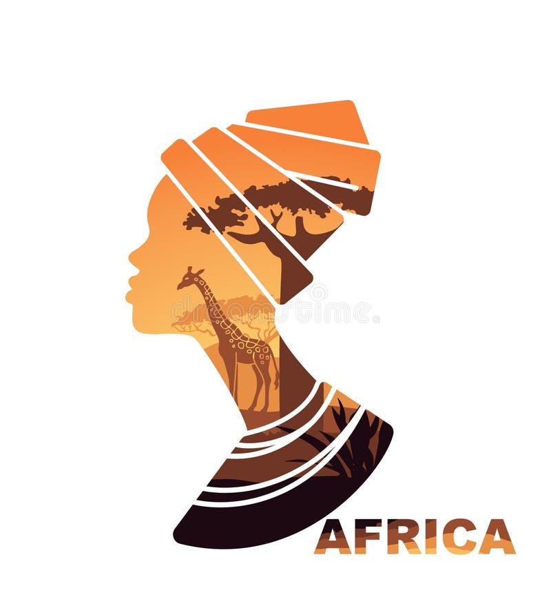 Silueta africana de la cabeza de la mujer s con la opinión de la puesta del sol libre illustration