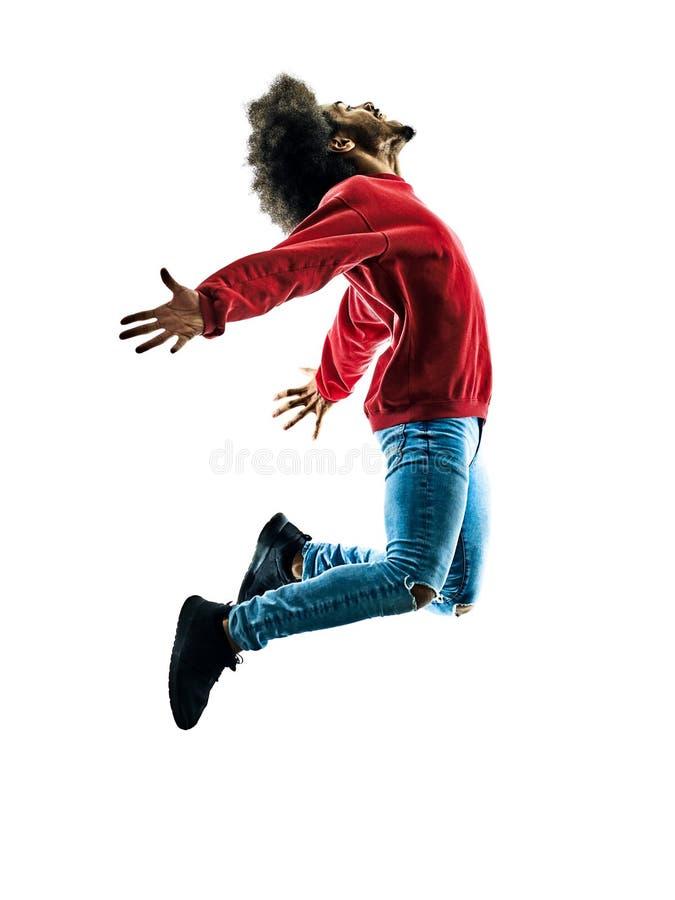 Silueta africana del baile del bailarín del hombre aislada imagen de archivo