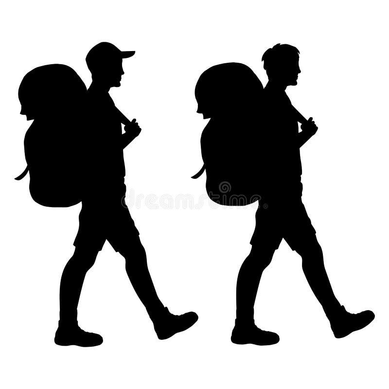 Silueta aislada caminante que camina ilustración del vector