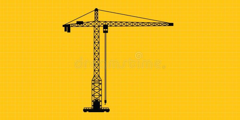 Silueta aislada construcción del sitio de grúa ilustración del vector