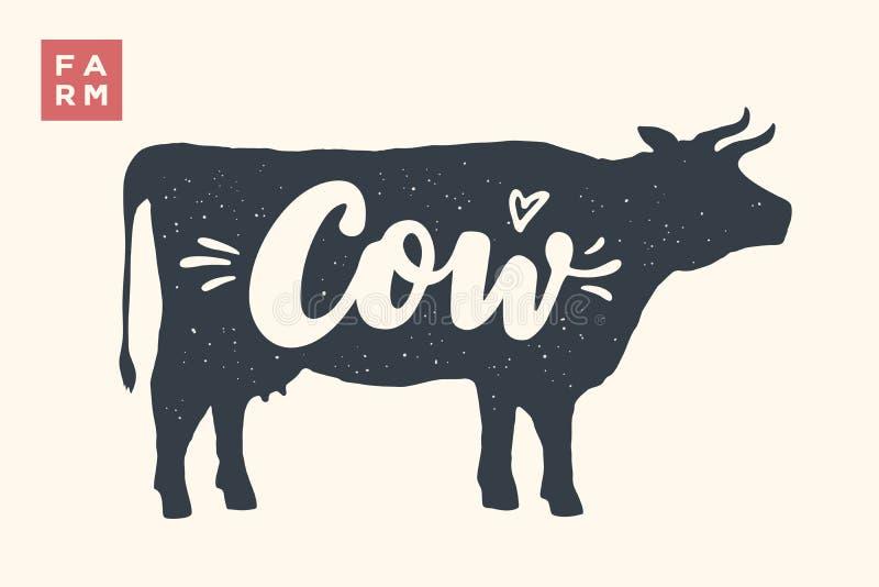 Silueta aislada de la vaca con las letras stock de ilustración