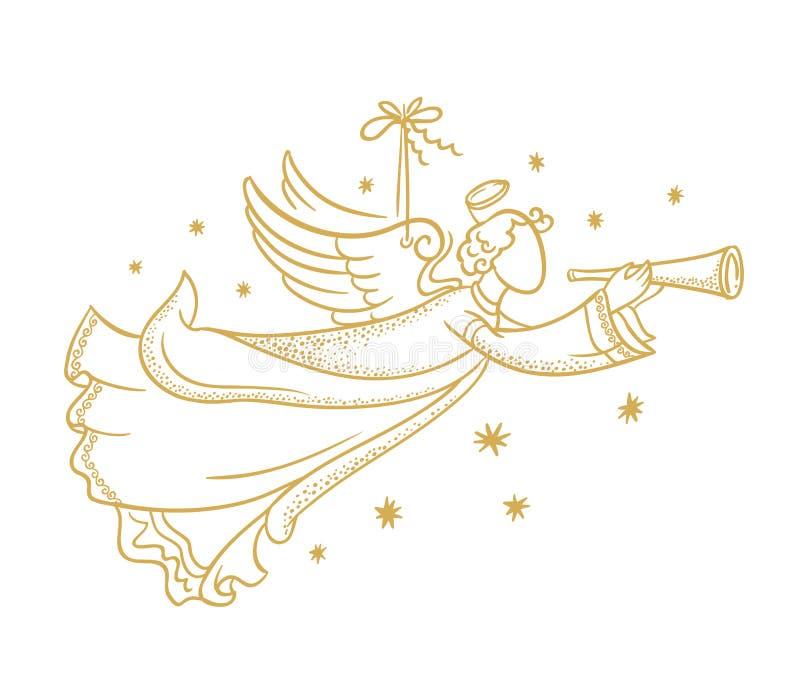 Silueta aislada de oro del ángel que cuelga en un cordón y copos de nieve ilustración del vector