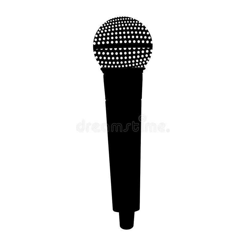 Silueta aislada del micrófono ilustración del vector