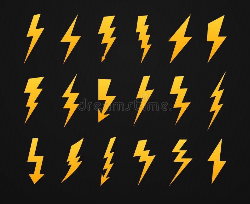 Silueta amarilla del rel?mpago Alto voltaje de la corriente el?ctrica, flash del rayo e iconos de las siluetas de los rel?mpagos  libre illustration
