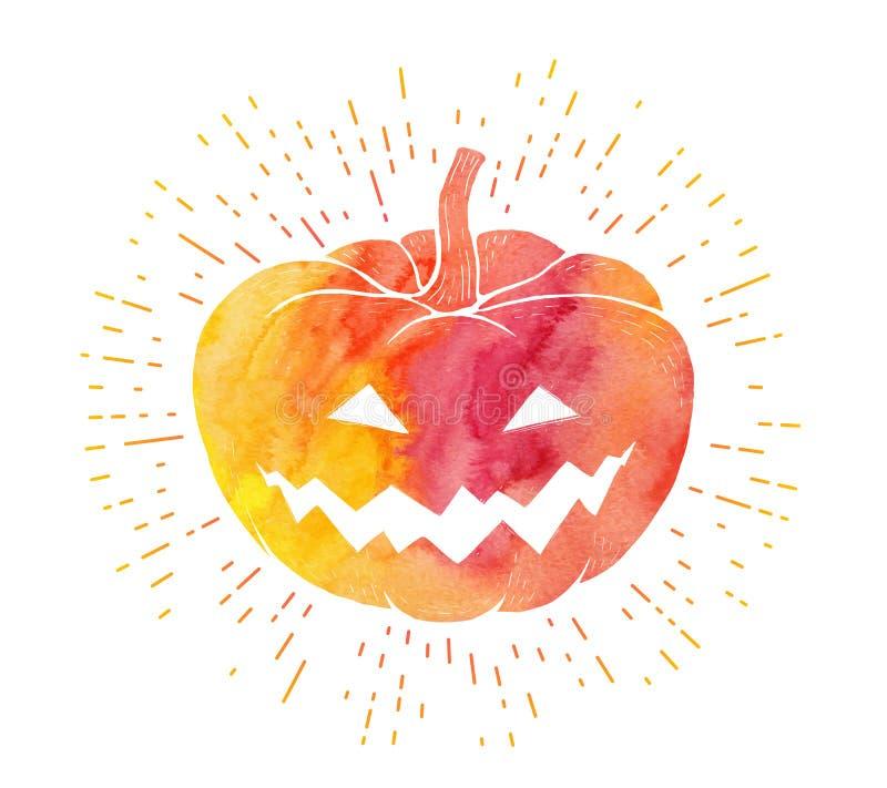Silueta amarilla y roja de la calabaza del vector de la acuarela en estilo del vintage con la cara asustadiza libre illustration