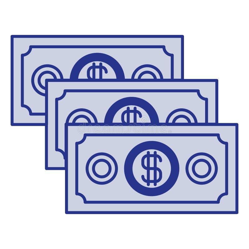 Silueta azul de las cuentas de dinero fijadas stock de ilustración