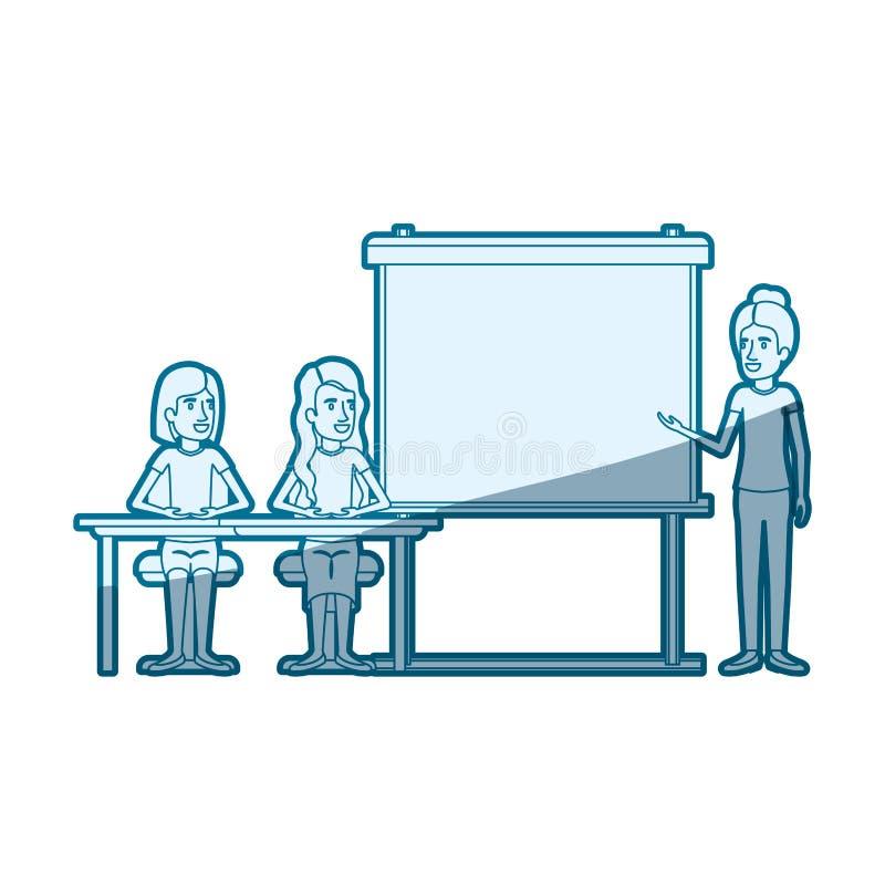Silueta azul del color que sombrea con los pares de las mujeres que se sientan en un escritorio para el ejecutivo de sexo femenin stock de ilustración