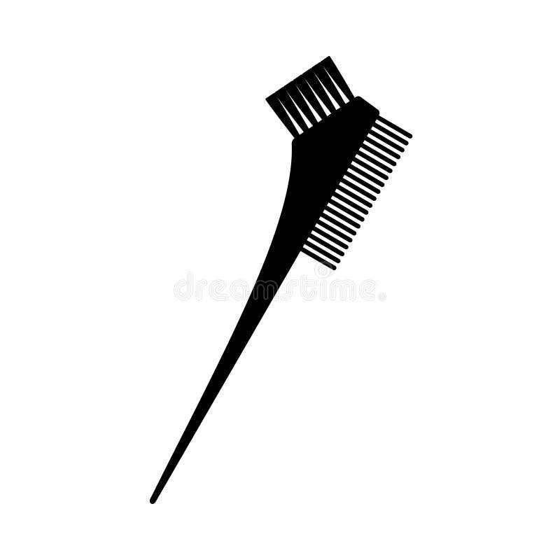 Silueta bilateral blanco y negro del cepillo del tinte de pelo libre illustration