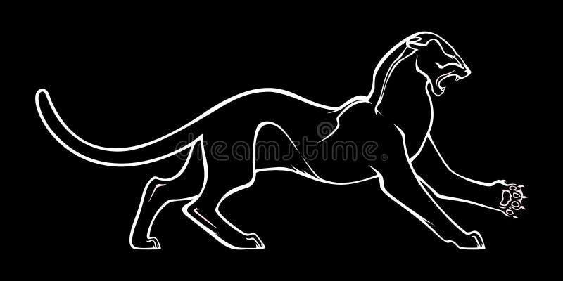 Silueta blanca de la pantera agresiva en fondo negro Ilustración del vector stock de ilustración