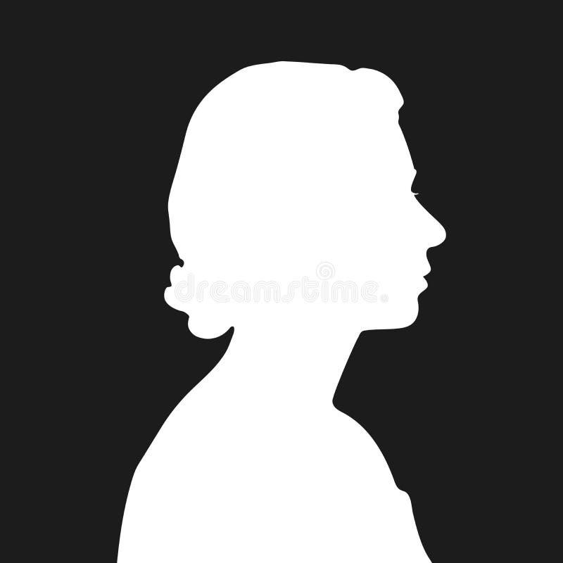 Silueta blanca de la reina Elizabeth ilustración del vector