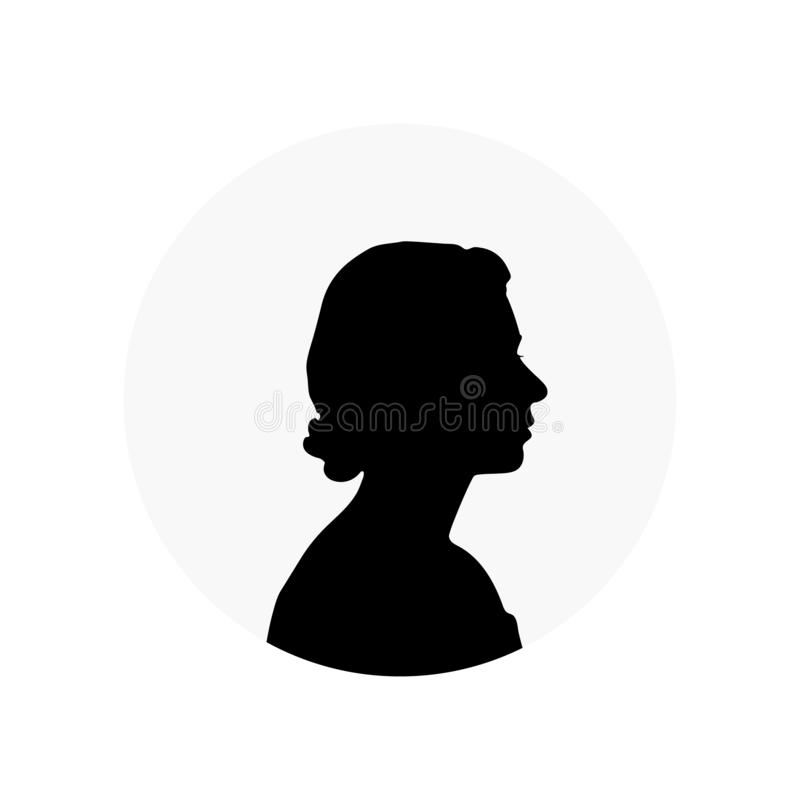 Silueta blanca de la reina Elizabeth stock de ilustración