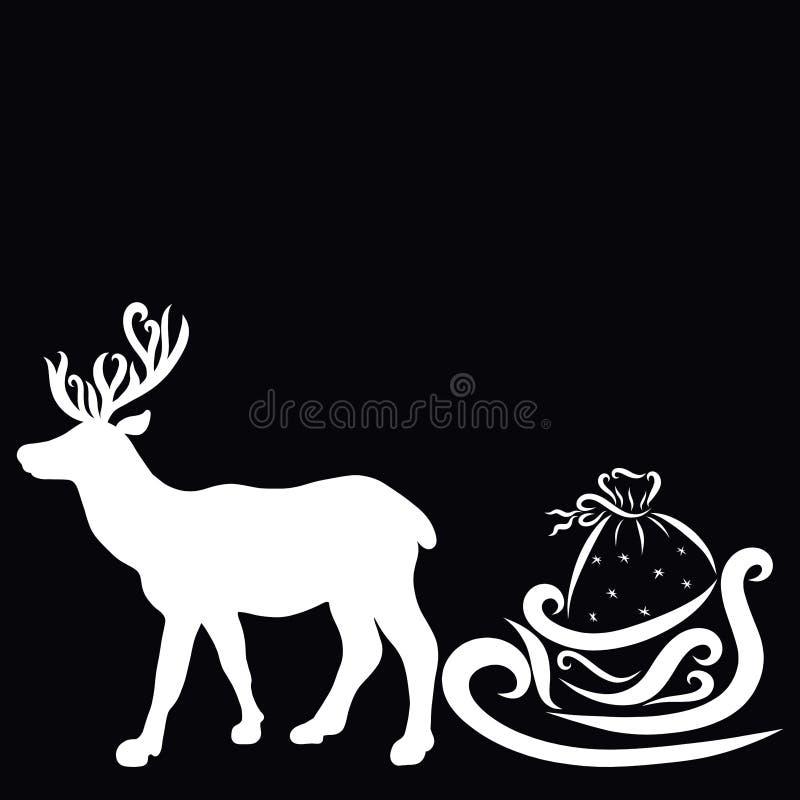 Silueta blanca de un ciervo agraciado que lleva un trineo con los regalos stock de ilustración