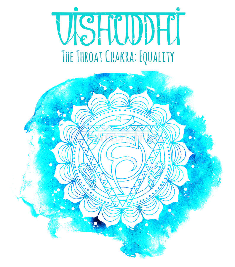 Silueta blanca del chakra de la garganta en azul stock de ilustración