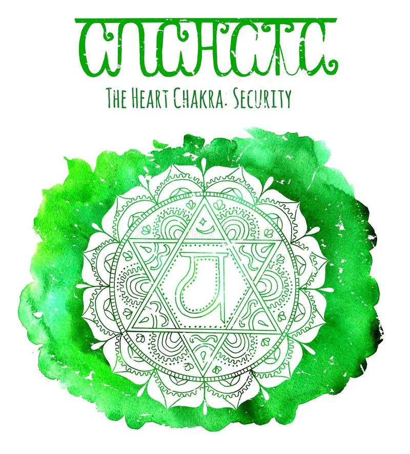 Silueta blanca del chakra del corazón en fondo verde libre illustration