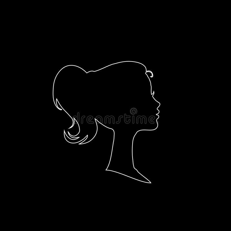 Silueta blanca del esquema del perfil de la cabeza de la chica joven o de la mujer, perfil de la cara, ilustración stock de ilustración