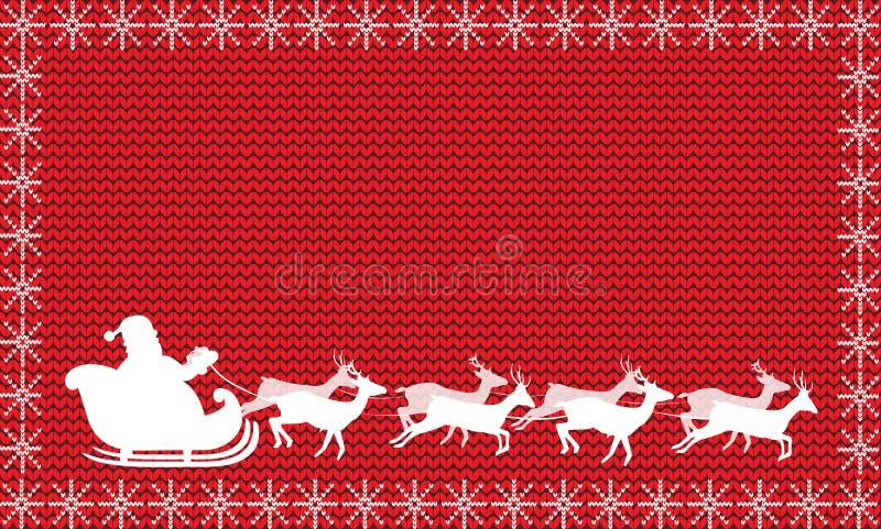 Silueta blanca del montar a caballo de Santa Claus en un trineo con ocho re stock de ilustración