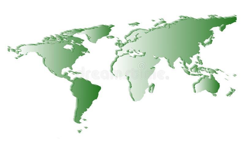 Silueta blanca plana del mapa del mundo stock de ilustración
