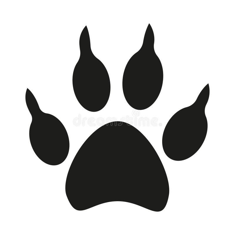 Silueta blanco y negro de la huella de la pata del perro ilustración del vector